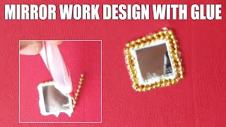 Mirror Work Design With Glue For blouses/ mirror work on boat neck blouse /design your own blouse