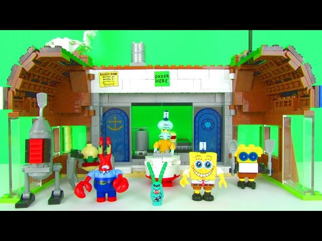 Spongebob Squarepants Krusty Krab Attack Playset Fun Kids Toy Review, Mega Bloks