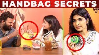 LOL : Anjena Kirti Funny Handbag Secrets Revealed by VJ Ashiq | What's Inside the HANDBAG