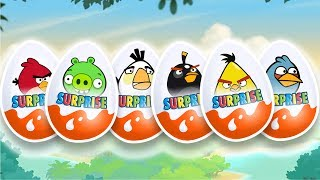 Angry Birds. Kinder Joy Cartoon for Children. Unboxing 10 Surprise Eggs.