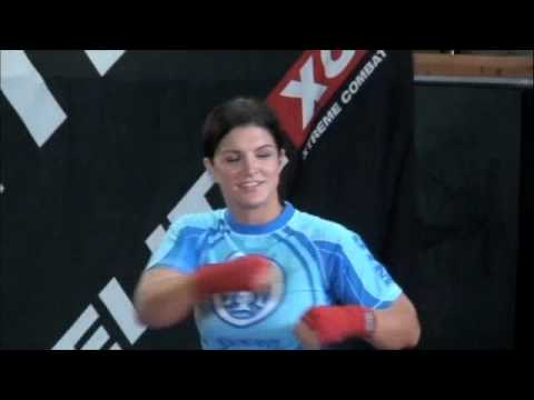 Gina Carano Looking Tough (media workout prepping for Kelly Kobald) Video