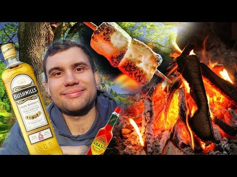 Overnight in forest drink alcohol campfire chocolate marshmallow eating sounds October 2019