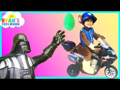 Paw Patrol Power Wheel Police Car Darth Vader Steal Egg Surprise Toy Spiderman Disney Toy Story