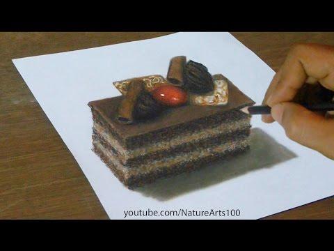 3D Drawing Chocolate cake, Trick Art, Optical Illusion