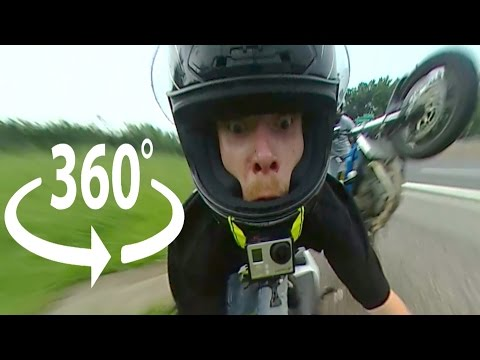 Funny Motorcycle Crash 360 Degree VR Video ROC 2016 Ride Of The Century Stunt Bike Crashes Wheelie