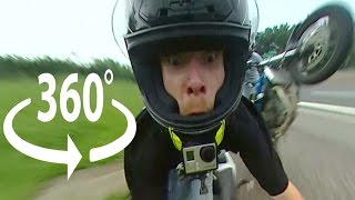 FUNNY Motorcycle Wheelie CRASH Full VR 360 Degree Video FUNNIEST Face Reaction As Biker CRASHES 2017