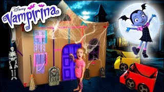 Vampirina's BOX FORT!!! Driving Cardboard Box Cars to Disney Jr Scare B&B!