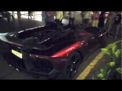 Video of Lamborghini Aventador J, a one-off roadster and  Reventon Roadster in Puerto Banus