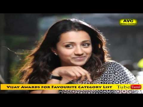 Vijay Awards for Favourite Category List
