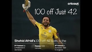 Shahid Afridi 100 Runs Off 42 Balls In CPL T20 2017 vs Derbyshire - 23 August
