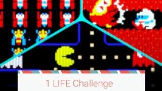 1 LIFE Challenge!    Galaga   Pacman   Dig Dug   Death = Game Over