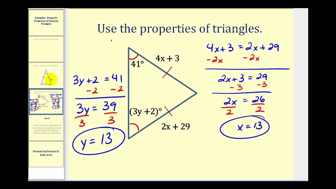 Examples: Using the Properties of Isosceles Triangles to ...