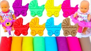Learn Colors Super Glitter Play Doh Baby Stroller Ice Cream Surprise Disney Toys Fun for Kids