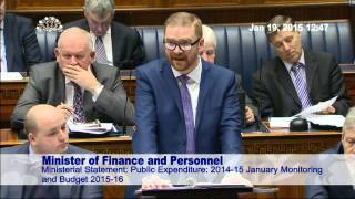 video The Minister of Finance and Personnel delivered a statement in the Assembly regarding the Executive's agreed Budget for 2015-16 and the result of the 2014-15...