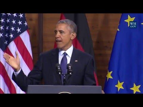 President Obama Delivers Remarks at Hannover Messe Building 35