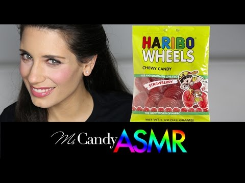 ASMR Candy: Candy ASMR 2015 Whispering Crinkling Tracing Tapping Chewing Haribo Licorice Wheels