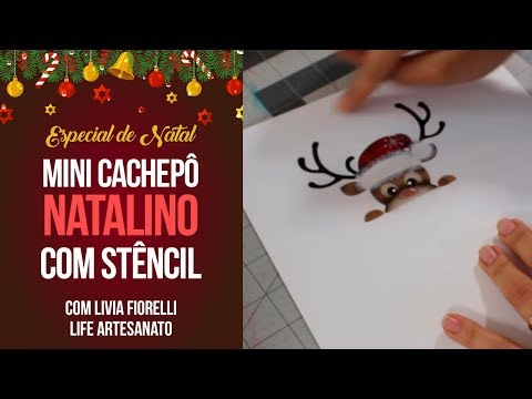 Mini Cachepô de Natal com Stencil   Especial de Natal