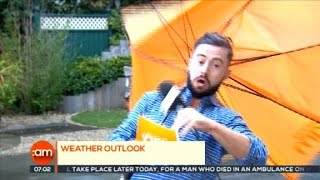 Weatherman Blown Away on Live TV (Video)