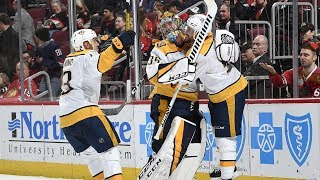 GOALIE GOAL: Pekka Rinne joins the club