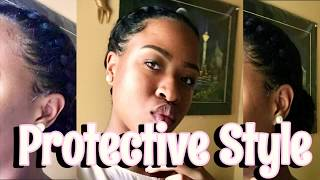 TWO BRAIDS INTO A LOW BRAIDED BUN| EASY PROTECTIVE STYLE ON RELAXED HAIR