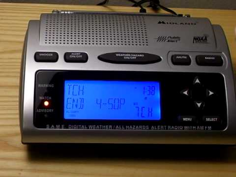 NOAA Weather Radio: High Surf Advisory and Severe Thunderstorm Watch (MISSED EAS)