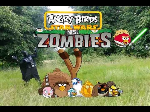 Real life Darth vader and Angry Birds VS Zombies- bowser12345