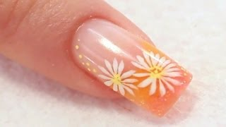 Colour French Acrylic Nail with Painted Daisies Tutorial Video by Naio Nails