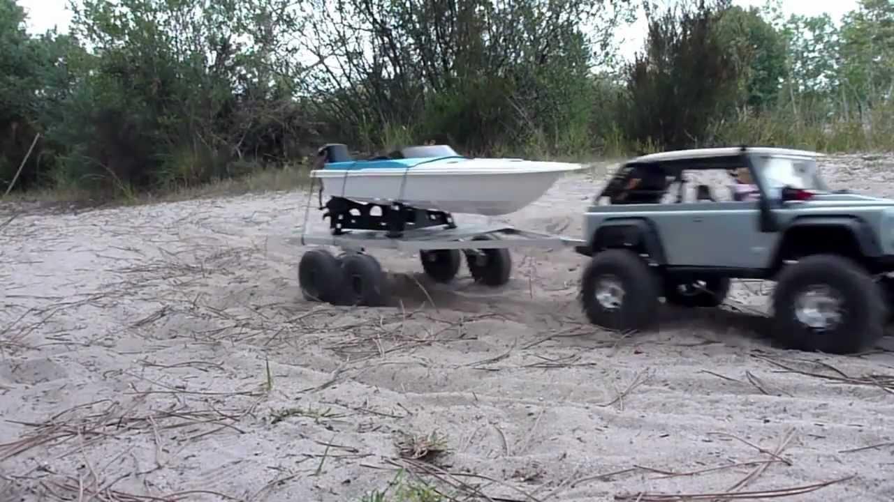 Rc 4x4 Flatbed Boat Trailer Summit Amp Scx10 Youtube