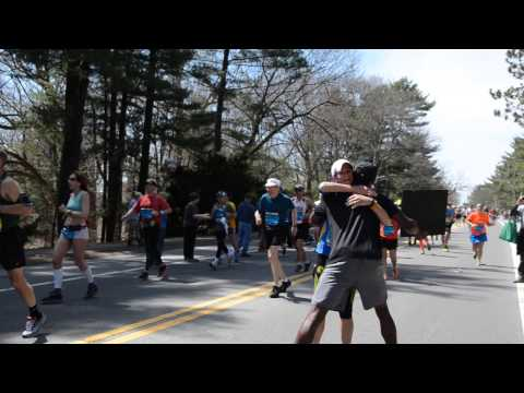 Free Hugs at Boston Marathon ( Will brighten your day :)