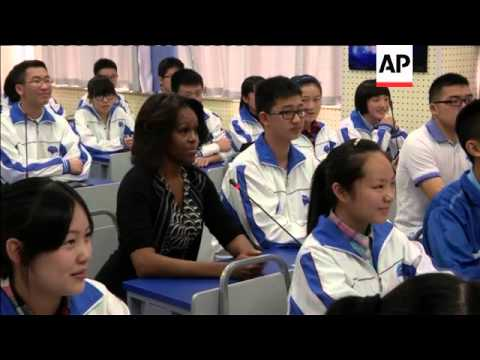 Michelle Obama gives a speech to rural students encouraging them to have high ambitions