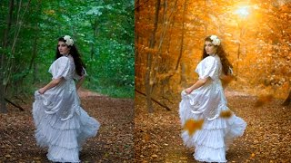 Autumn color effect | Photoshop tutorial | Soft light look