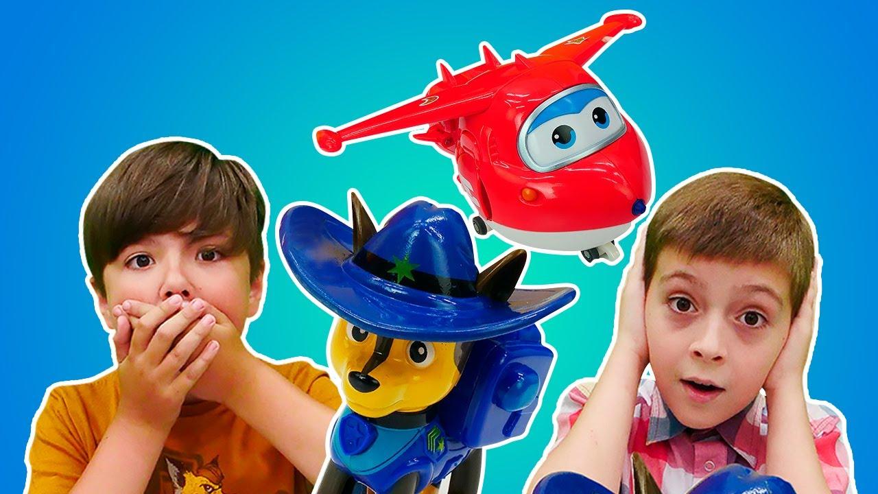 Щенячий Патруль и Супер Крылья в Супер Челлендже – Крокодил! Смешные игры для детей.