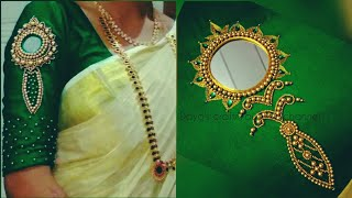 Vaal kannadi design work  aari work Tutorial  on chudidhar Top or on sleeves of blouse