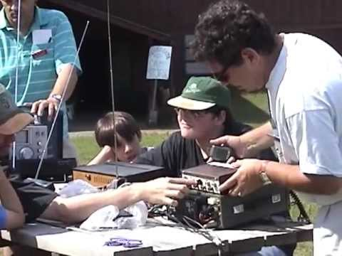 Campers at Brantingham Lake, NY Aldersgate Methodist Camp learn about Ham Radio