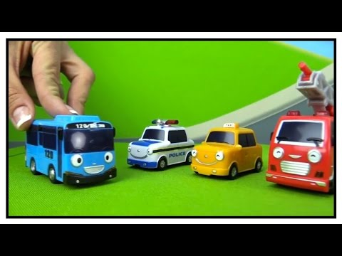 Toy Cars - RACING TRACK: Paws Patrol & Peppa Pig Ride TAYO Bus (타요) Wheels on the Bus Demo!