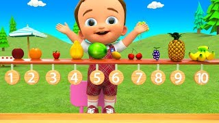 Little Baby Fun Learning Fruits Names for Children with Tree Fruits Toy Set Colors 3D Kids Education