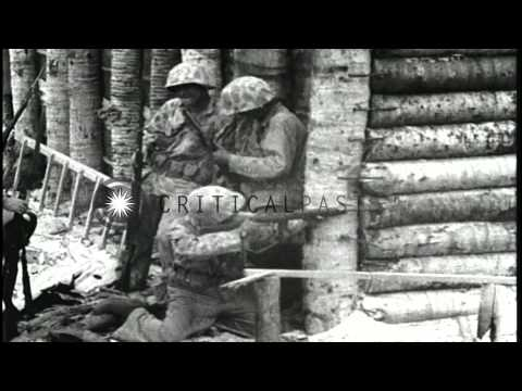 War scenes during Battle of Tarawa, World War II. HD Stock Footage