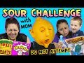 SOUR CHALLENGE w MOM! TOXIC WASTE, WARHEADS, LEMONS & SOUR PACIFIERS! (FUNnel Vis Family)