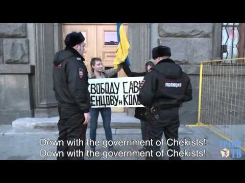 Protest in support of Ukrainian hostages in Moscow (English subtitles)