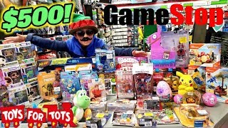 CARL STEALS A $500 TOY HAUL FROM GAMESTOP! SHOPPING FOR THE BEST COLLECTIBLES FOR TOYS FOR TOTS KIDS