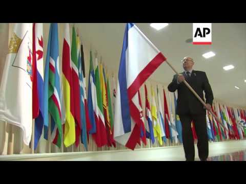 Ceremony to install the flags of Crimea and Sevastopol in Russian Parliament