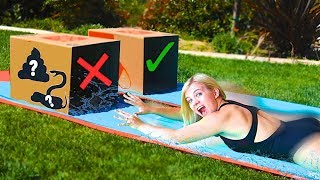 DON'T Water Slide Through The Wrong MYSTERY BOX! // SoCassie