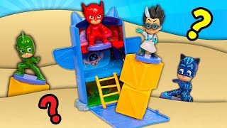 PJ Masks and Puppy Dog Pals have Pretend Play Fun in the HUGE SANDBOX with Paw Patrol