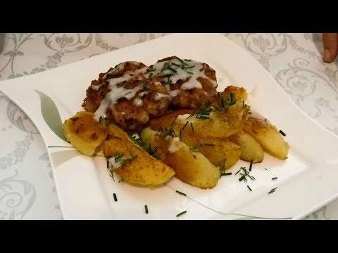 Быстрый обед-Отбивные из фарша и жареная картошка по-немецки-Вкусно!!