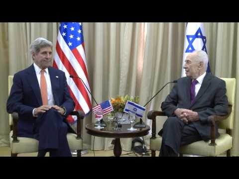 Secretary of State John Kerry meeting with President Shimon Peres, Jerusalem, July 23, 2014