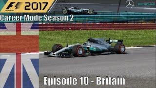 F1 2017 Career Mode Season 2 Part 10 - Britain (Intense Battles At My Home Race)