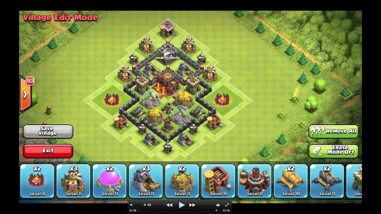 Clash of clans th4 hybrid base youtube