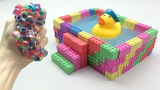 Learn Colors Kinetic Sand Rainbow Pool Duck VS Squishy Ball Surprise Toys How To Make For Kids