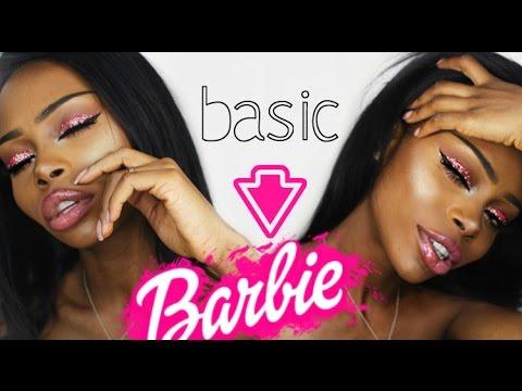 Basic to Barbie Pink Glitter Eye Makeup Tutorial