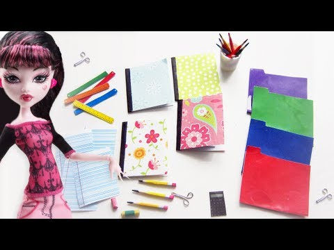 How to make doll school supplies part 1: 10 crafts in 1  pencils. notebooks. eraser. scissors. etc